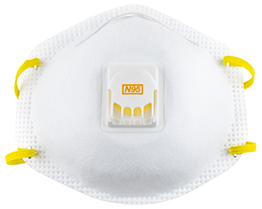 Picture of a N95 mask or respirator for protection against COVID-19 (Coronovirus)
