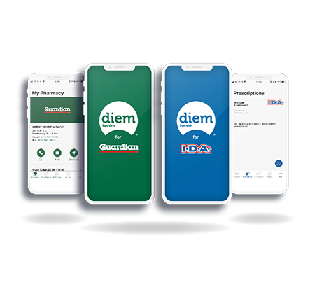 diem health for Guardian and diem health for IDA mobile apps